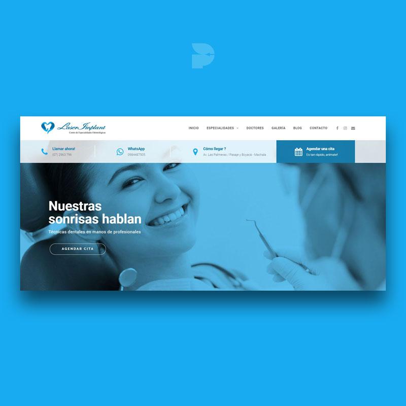 Diseño página web para odontólogos Laserimplant Machala Ecuador