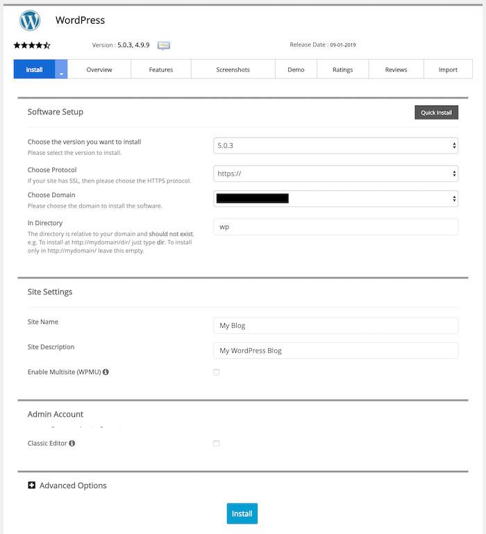 Como instalar WordPress en cPanel Softaculous instalador
