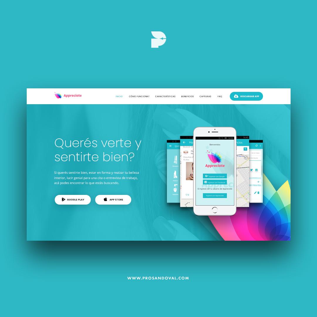 Diseño página web para aplicaciones móviles