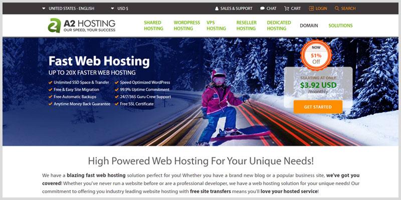 a2hosting Mejores hosting web para WordPress