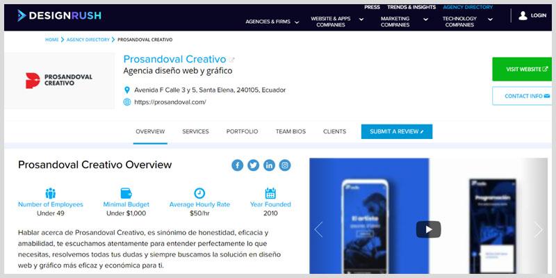 Prosandoval Creativo entre las mejores agencias de diseno WordPress 2020 segun DesignRush
