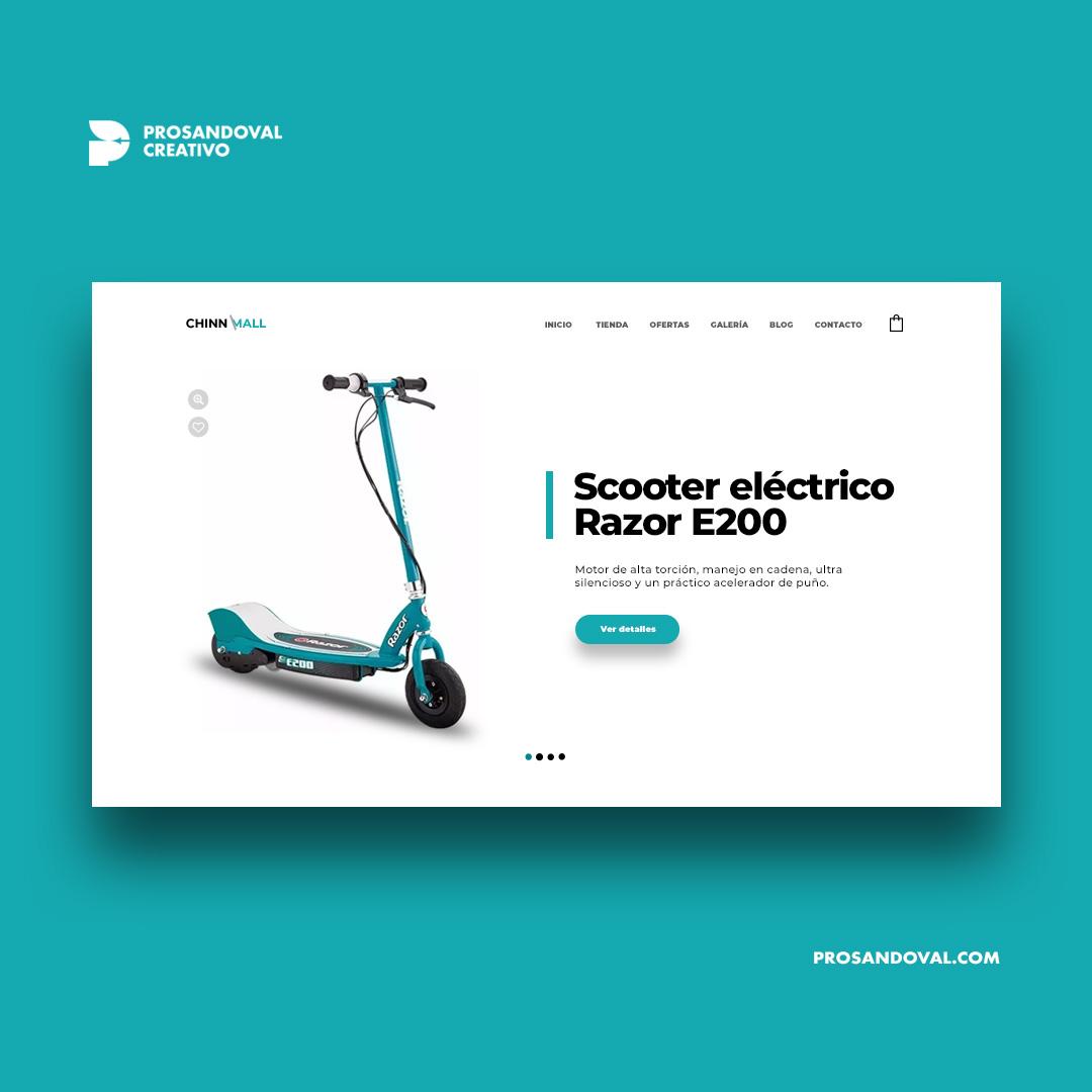Diseño tienda online de monopatín eléctrico