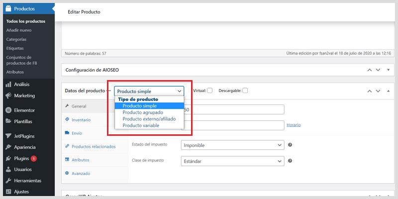 Como-crear-producto-simple-en-Woocommerce-tipo-de-producto