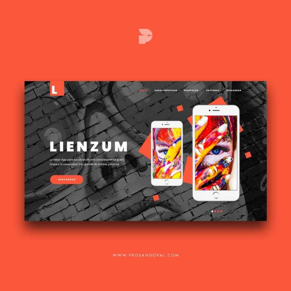 Diseño página web para app lienzum