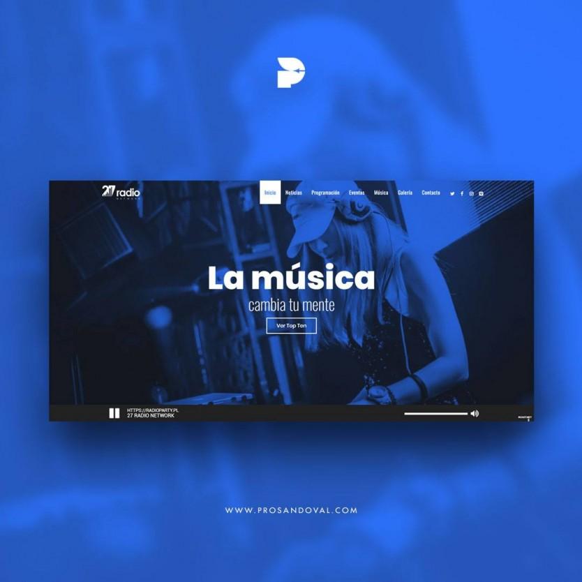 Diseño pagina web para radio digital 27 network ecuador