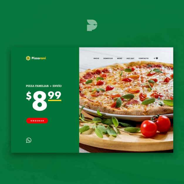 Diseño página web para comida rápida Pizzaroni