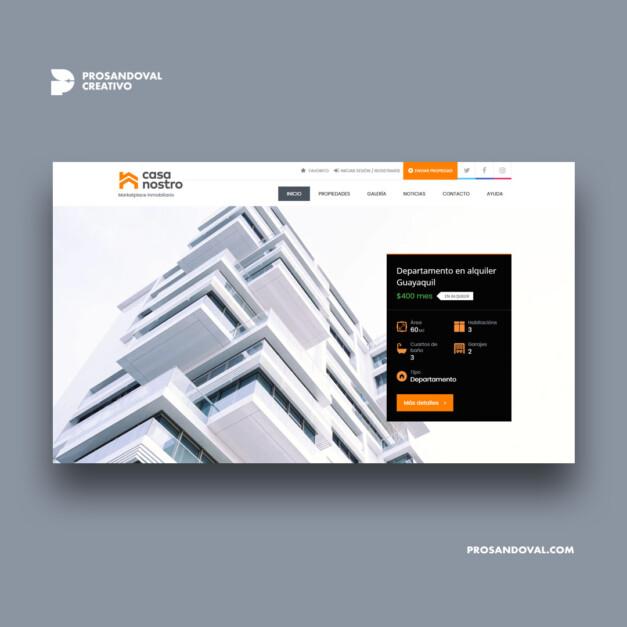 Diseño web portal inmobiliario casa nostro ecuador