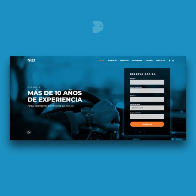 Diseño página web para transporte turístico