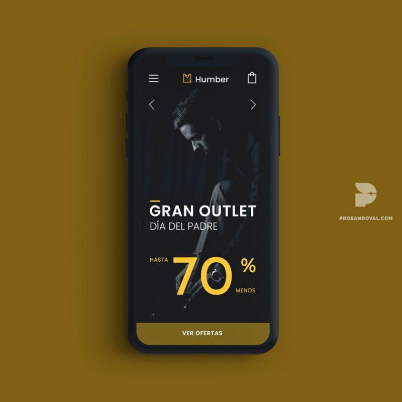 Diseño tienda online de ropa de hombre movil